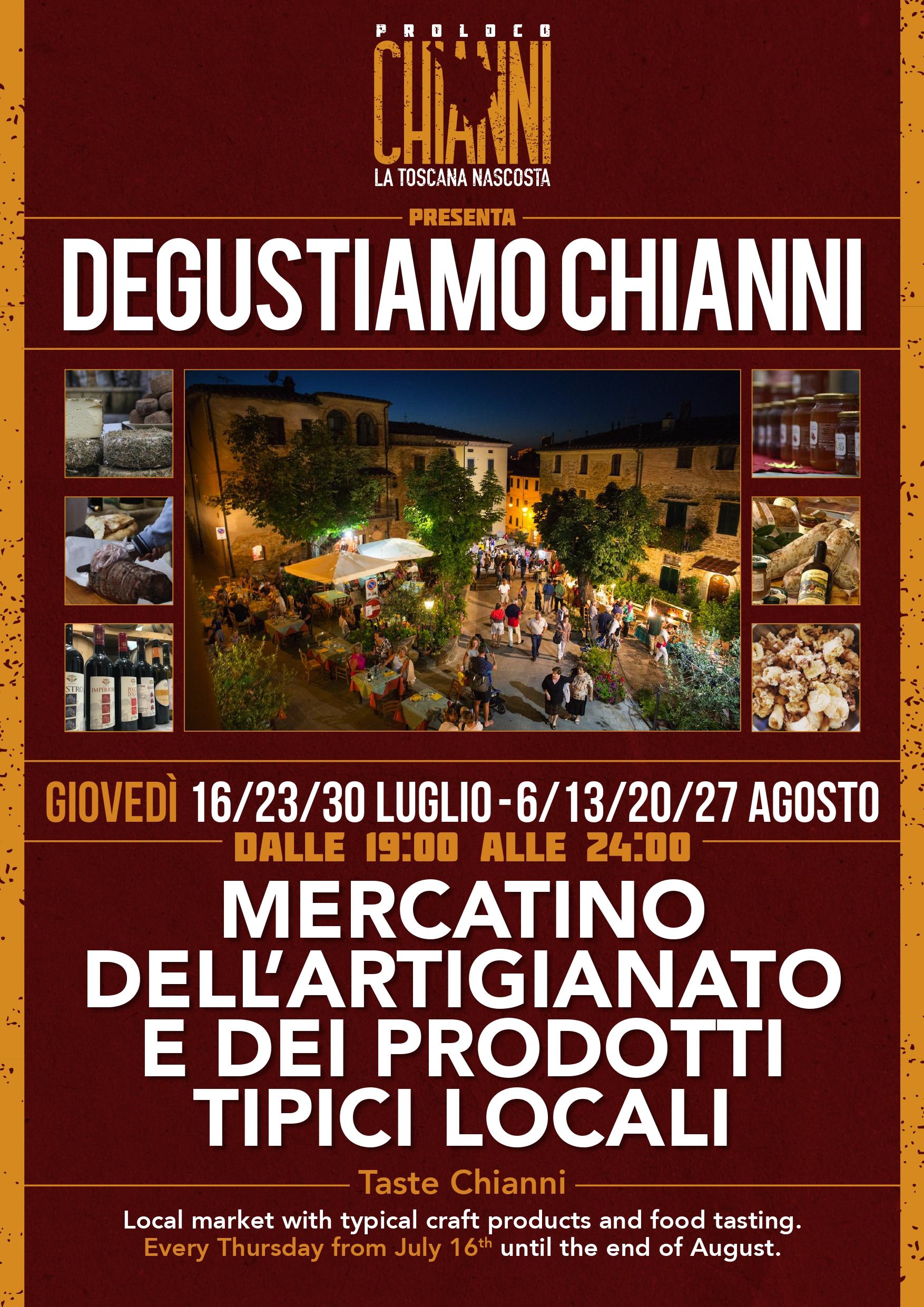 """Mercatini di estate: """"Degustiamo Chianni, in totale sicurezza"""""""