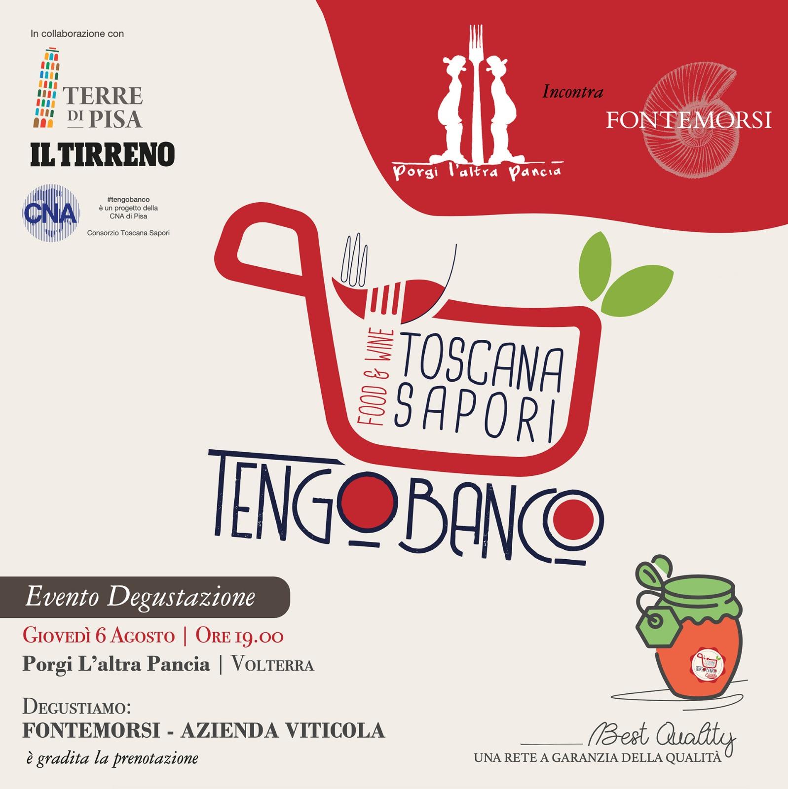Tengo banco, degustazione 6 agosto | Volterra