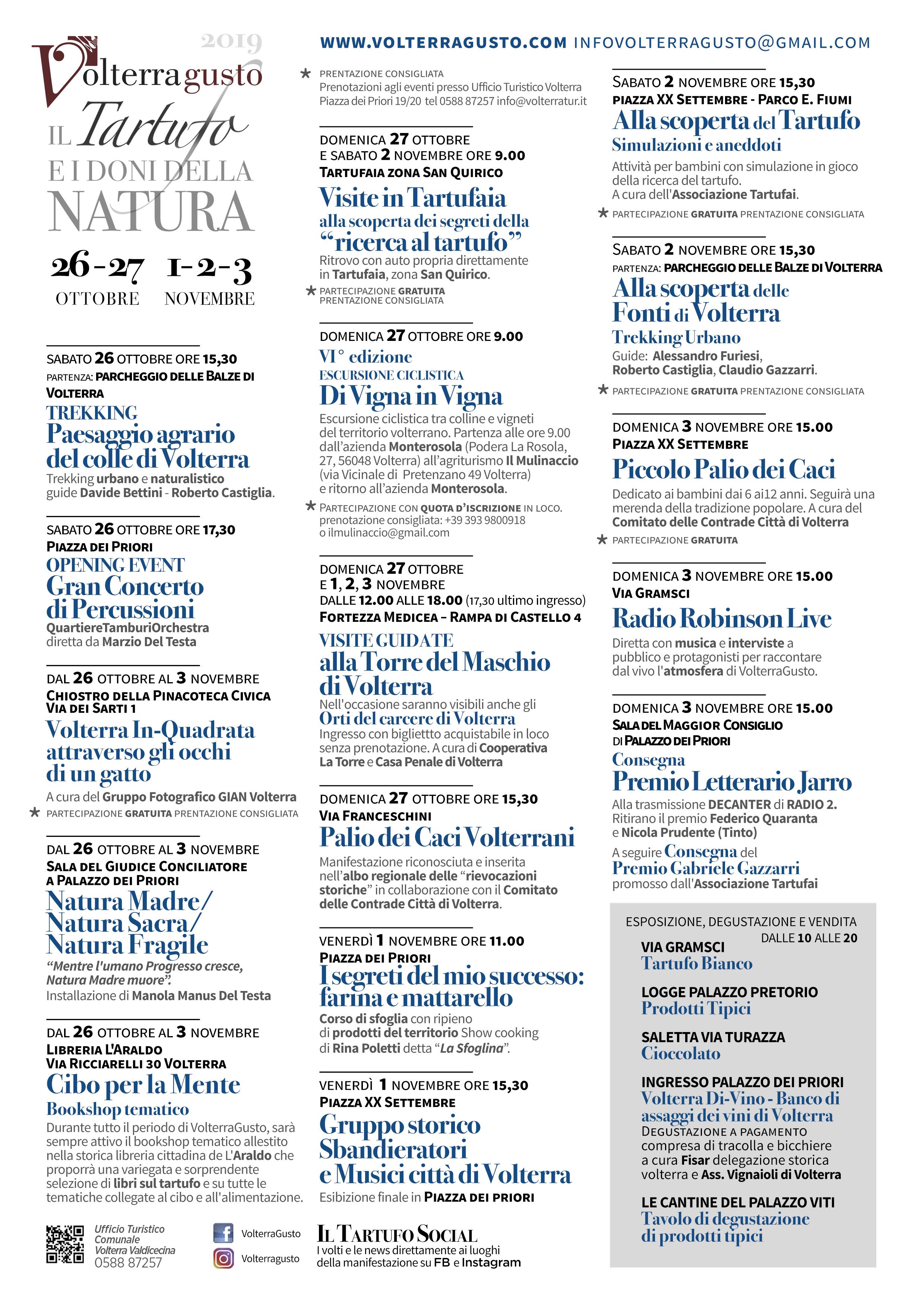 22° Volterra Gusto – Mostra Mercato del Tartufo Bianco e dei prodotti della Val di Cecina | Volterra