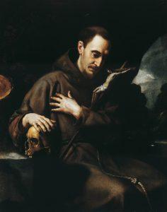 Orazio Riminaldi   San Francesco in meditazione sul crocifisso.