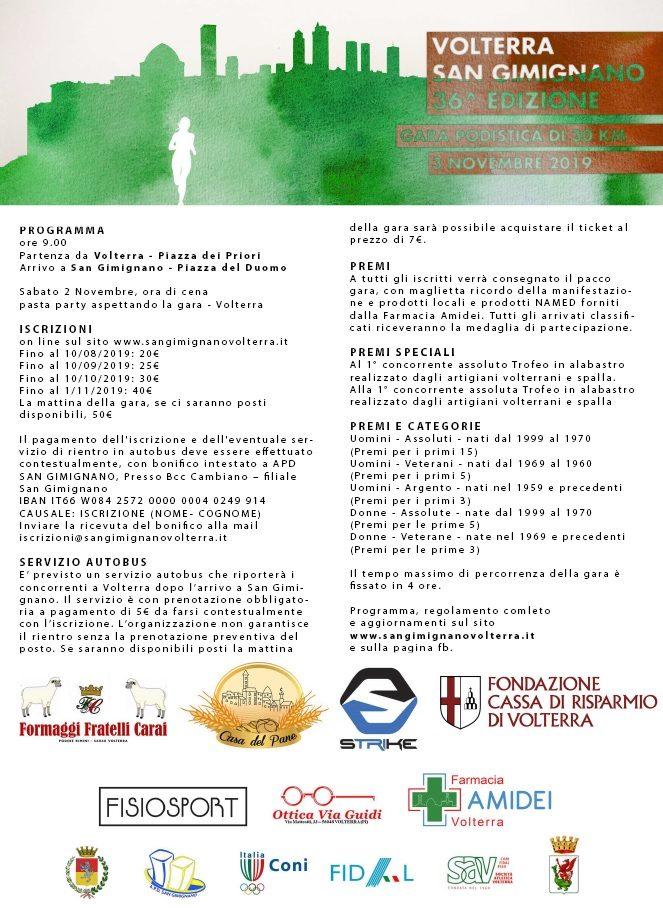 36° Gara podistica Volterra San Gimignano