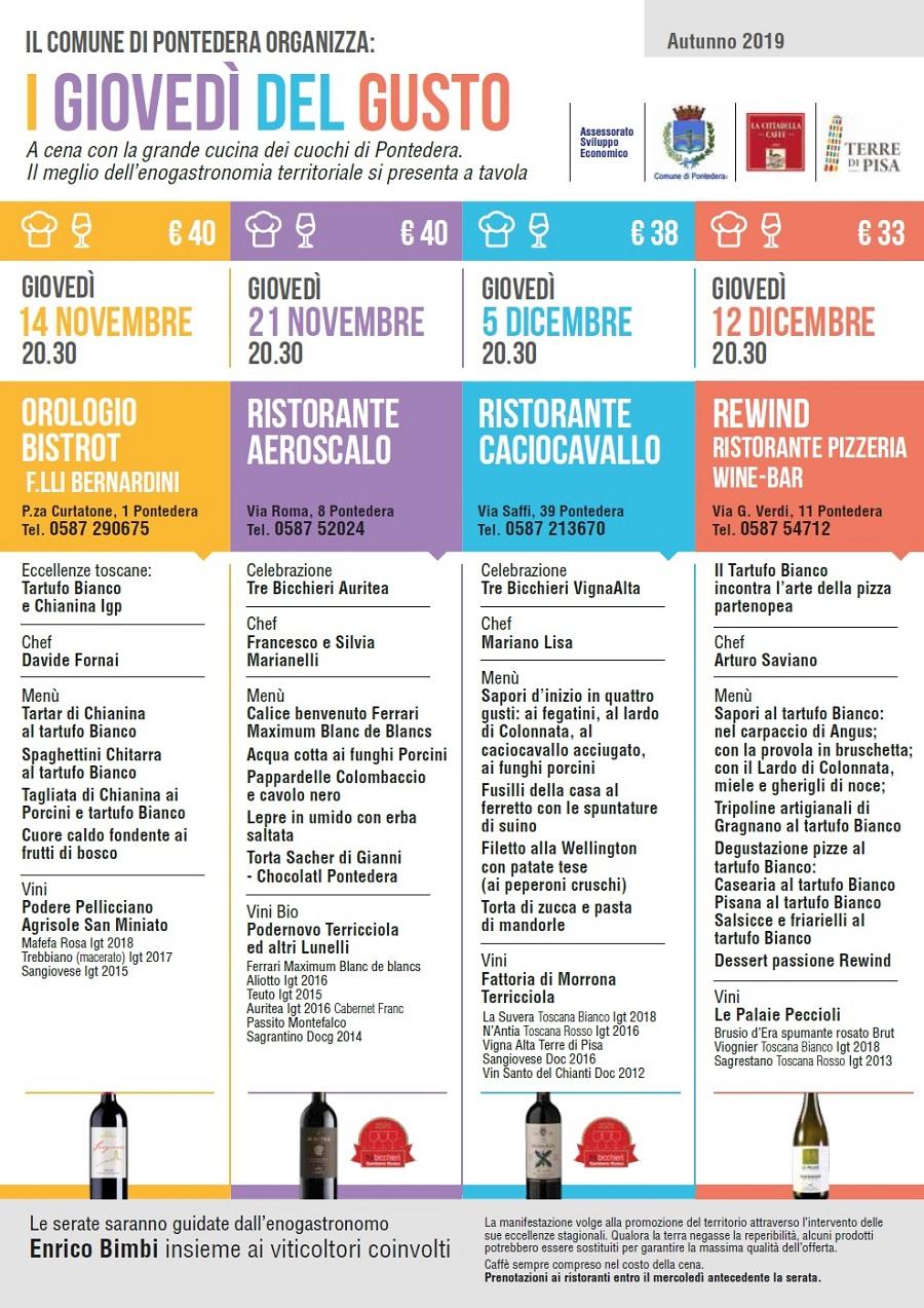 Giovedì del gusto – Thursdays Taste in the restaurants of Pontedera