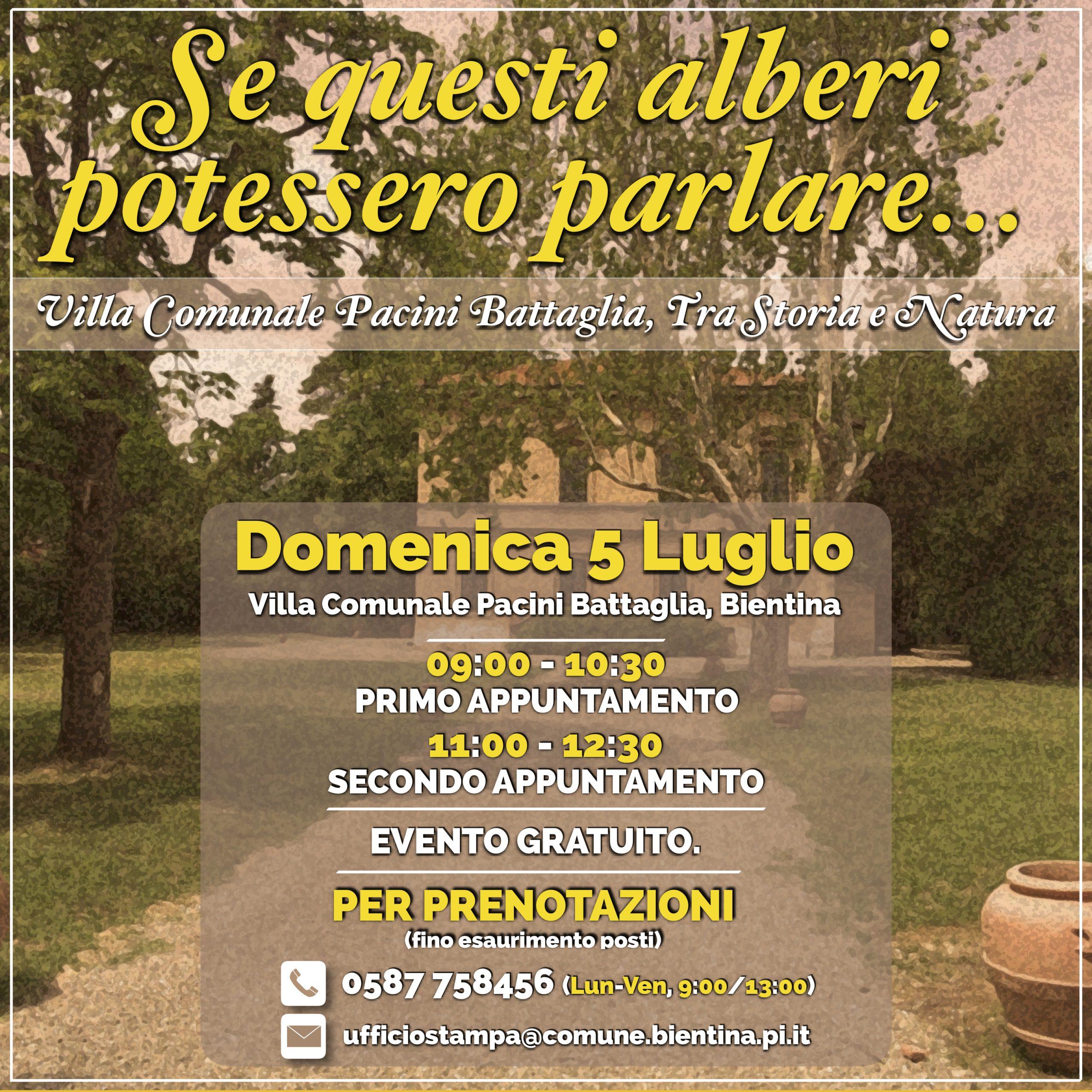 Visita guidata gratuita alla Villa Comunale Pacini Battaglia, tra Storia e  Natura   Bientina